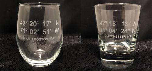 Custom Etched Latitude and Longitude Glasses Set of 4