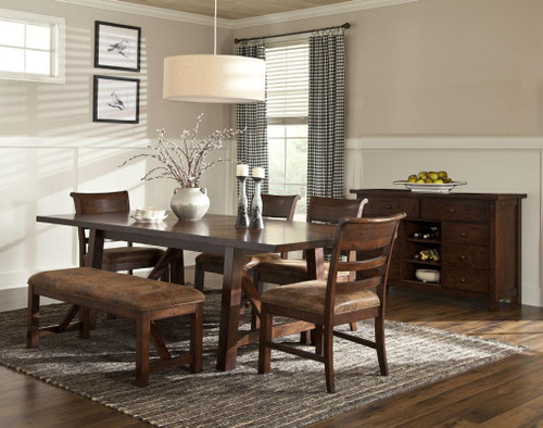 "Rustc Canyon 40"" x 84"" Solid Oak Dining Table with two 10"" leaves  Opens to 40"" x 104"" length Seats 10-12 people"
