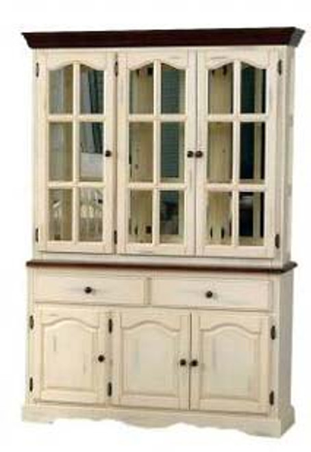 """55"""" Mirrored Traditional Hutch Buttermilk and Cherry Danielson Collection"""