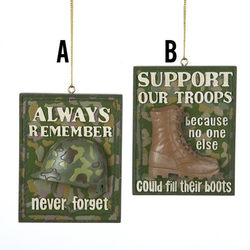 Troops/ Remember Ornament 2 Assorted