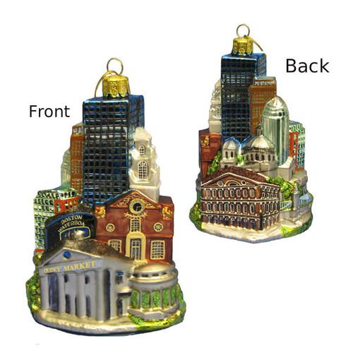 """City of Boston Glass Ornament 5"""""""