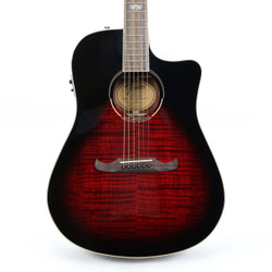 Fender T-Bucket 300ce Flame Maple Dreadnought Cutaway in Trans Cherry Burst