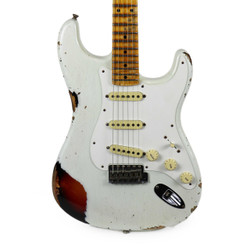 Used Fender Custom Shop Mischief Maker Stratocaster Limited Edition Heavy Relic in Olympic White & Sunburst