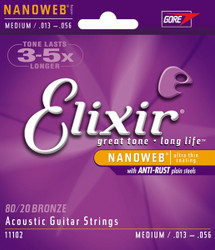 Elixir Nanoweb Acoustic Guitar Strings Medium .013-.056