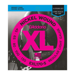 D'Addario EXL170-5 .045-.130 Electric Bass Guitar Regular Light Gauge Strings