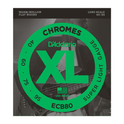 D'Addario ECB80 XL Chrome Flat Wound Long Scale Super Light Bass Strings .040-.095