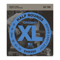 D'Addario EHR350 Half Round Jazz Light Electric Guitar Strings .012-.052