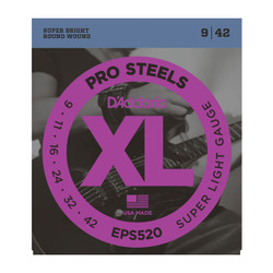 D'Addario EPS520 ProSteels Super Light Electric Guitar Strings .009-.042