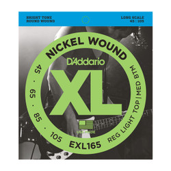 D'Addario EXL165 Nickel Wound Long Scale Custom Light Bass Strings .045-.105
