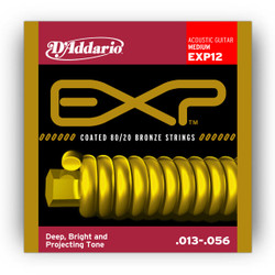 D'Addario EXP12 Coated 80/20 Bronze Medium Acoustic Strings .013-.056