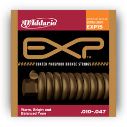 D'Addario EXP15 Coated Phosphor Bronze Extra Light Acoustic Strings .010-.047