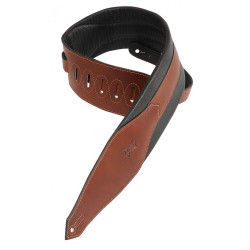 """Levy's Carving Leather Bass Guitar Strap 3 1/2"""" Padded Brown"""