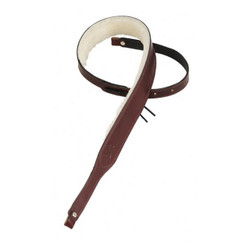 """Levy's Carving Leather Banjo Strap 2"""" with Sheepskin Lining in Burgundy"""