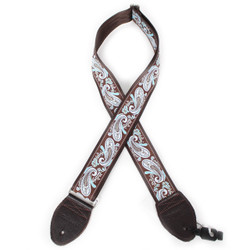 """Souldier """"Paisley"""" Light Blue & Brown Pattern 2"""" Guitar Strap with Dark Brown Ends"""