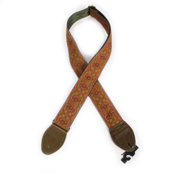 "Souldier ""Arabesque"" Red Pattern 2"" Guitar Strap with Olive Ends"