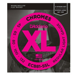 D'Addario ECB81-5SL Chromes 5-String Super Long Scale Bass Strings .045-.132