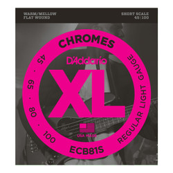 D'Addario ECB81S Chromes Short Scale Bass Strings .045-.100