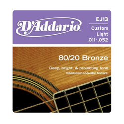 D'Addario EJ13 80/20 Bronze Custom Light Acoustic Strings .011-.052