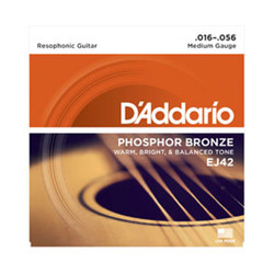 D'Addario EJ42 Phosphor Bronze Resophonic Guitar Strings .016-.056