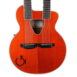 1996 Gretsch 6022-6/12 Double Neck Acoustic Guitar Orange Finish