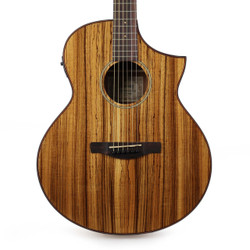 Ibanez AEW40ZW AEW Series Zebra Wood Acoustic Electric Guitar in Natural High Gloss