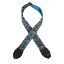 "Souldier ""Arabesque"" Turquoise 2"" Guitar Strap with Navy Ends"
