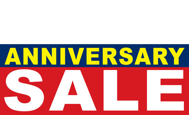 Anniversary sale banner sign style