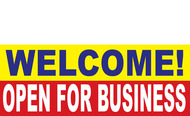 Welcome Open for Business Banner Sign 1200