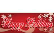 Snowflakes and Red Happy Holidays Banner Sign Style 2900