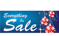 Blue Ornament Everything On Sale Banner Sign Style 3400
