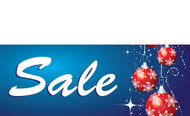 Blue Ornament Sale Holiday Season Advertising Banner Sign Style 3500