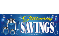 Glittering Savings Blue Holiday Season Sale Banner Sign Style 4000