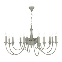 DAR BAI1239 Bailey 12 light Chandelier Ash Grey