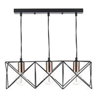 Dar MID0322 Midi 3 Light Bar Pendant Black & Copper