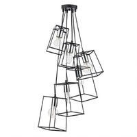 Dar TOW0650 Tower 6 Light Cluster Pendant Black & Chrome
