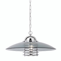 S911300CC Polished Chrome Ceiling Pendant Smoked Glass