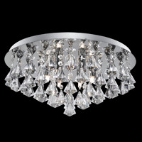 S9133066 6 Light Chrome & Crystal Ceiling Light