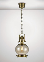 Diyas IL31596 Riley 1 Light Small Pendant Antique Brass