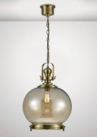Diyas IL31598 Riley 1 Light Large Pendant Antique Brass