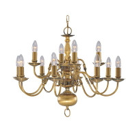 Searchlight 1019-12AB Flemish 12 Light Chandelier Antique Brass