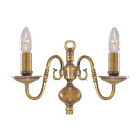 Searchlight 1019-2AB Flemish Twin Wall Light Antique Brass