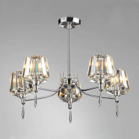 DAR SEL0550 Selina 5 Light Chrome & Crystal Ceiling Light