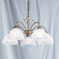 Searchlight 1135-5AB Milanese 5 Light Ceiling Light Antique Brass