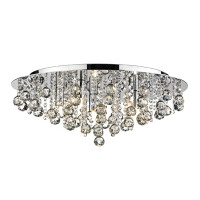 DAR PLU5450 Pluto Chrome 5 Light Flush Crystal Ceiling Light