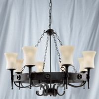 Searchlight 0818-8BK Cartwheel Wrought Iron 8 Light Ceiling Light