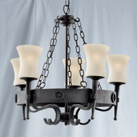 Searchlight 0815-5BK Cartwheel Wrought Iron 5 Light Ceiling Light