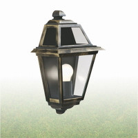 Searchlight 1523 New Orleans Half Lantern IP44  Black Gold 100W