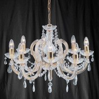 Searchlight 699-8 Marie Therese 8 Light Polished Brass Chandelier