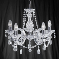 Searchlight 399-5 Marie Therese 5 Light Chrome & Glass Chandelier