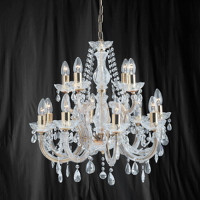 Searchlight 699-12 Marie Therese 12 Light Polished Brass Chandelier